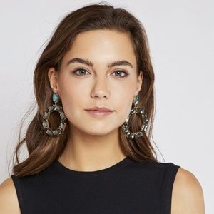 New Tory Burch Stone Wreath Clip on Earrings